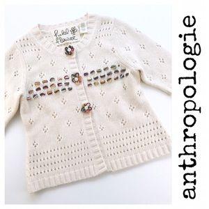 Anthropologie Field Flowers Cream Cardigan Sweater